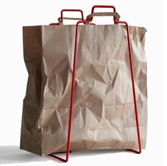 This Recycling Frame from Matteriashop isn't going to work for those of us who have mastered the take-your-own-reusable-bag-to-the-store routine. But we can't help but like it. And we know there are plenty of people who are still toting their groceries home in plastic or paper bags, so this could be a nice solution for them.