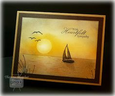 Heartfelt Sympathy by Theresa Momber. ocean sunset scene tutorial included in post! Nautical Cards, Beach Cards, Stamping Up Cards, Get Well Cards, Card Tutorials, Watercolor Cards, Masculine Cards, Sympathy Cards, Paper Cards