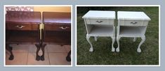 """These pedestals were destined for the client's beach house and needed a new, fresh look. I painted them with Tjhoko Chalk Paint """"Cloud White"""", very minimal distressing and a clear glaze applied. Paint Effects, Own Home, Pedestal, Chalk Paint, Office Desk, Glaze, Beach House, Cloud, Minimal"""