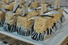 Fancy Rice Crispy Treats on a stick for showers and parties