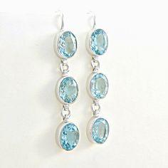 Boucles d'oreilles topaze bleu en argent 925 Boucles d'oreilles pendantes pierre…