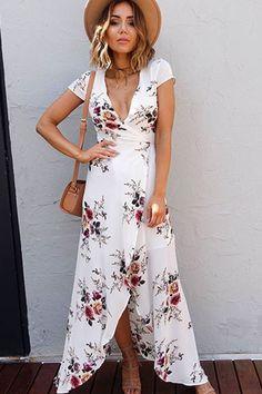 937dc9fd2a Boho Floral Women s Long Maxi Dress Summer Sundress