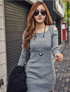 bf60537b913ff1 2017 Fashionable Women Dress Black   Gray Slim Grey Sweater Dress