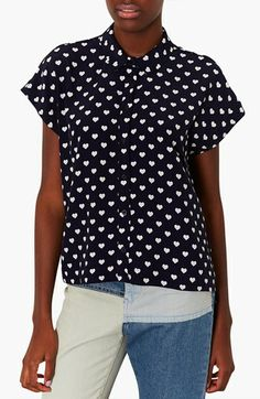 Topshop Heart Print Shirt available at #Nordstrom