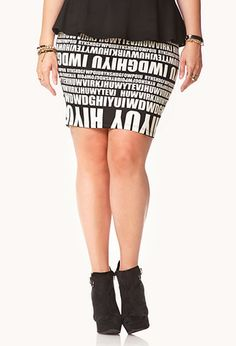 Breaking News Knee Length Skirt   FOREVER21 PLUS - 2000092026