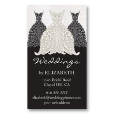 7ef8bddc0c96 Wedding Planner Business Cards Black, White, and Platinum Wedding Planner  Business Card with stylized