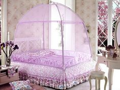 Bedroom Designs The Enchanting Transparent Purple Curtain Bed Girls Canopy Bed With Beautiful Flowers On & DIY Canopy Bed - wants one like Harry Potter! | Things for my son ...