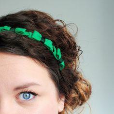 Kelly Green Bow Crown Headband - Felt Bows - Crown Headband - Statement Hair Accessory