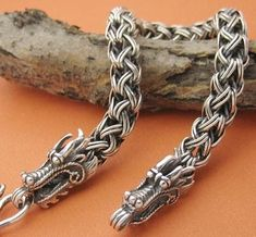 Handmade Tibetan Sterling Silver Bracelet - Dragon