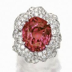 Impressive 'Padparadscha' & Diamond Ring Sapphire Jewelry, Diamond Jewelry, Diamond Rings, Sapphire Rings, Silver Jewelry, Heart Jewelry, Fine Jewelry, Jewellery Rings, Jewellery Shops