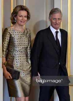 Queen Mathilde and King Philippe attended the New Year's reception organized by the Royal Family for the NATO permanent representatives and Shape officers at the Royal Palace on January 26, 2017 in Brussels.