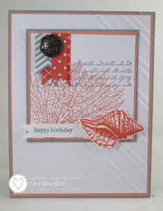 Teeny Tiny Wishes, By the Tide Papers: Calypso Coral DSP, Smoke Slate DSP, Crisp Cantaloupe CS, Smoky Slate CS Embellishments: Antique Brads Tools: Stylish Stripes Embossing Folder, Big Shot