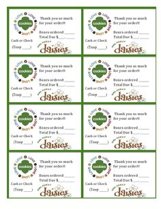 449 best girl scout cookies images on pinterest in 2018 girl printable daisy girl scouts cookie sales invoice and thank you card 8 per sheet colourmoves