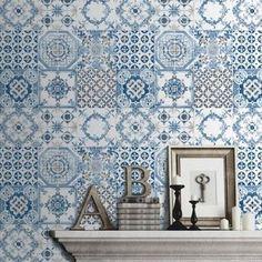Papel pintado cavaillon cav 6503 90 09 imitaci n azulejos for Papel pintado imitacion azulejo