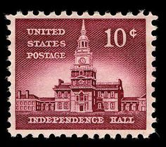 us postage stamp independence hall 10 Cents | Arago: Liberty Issue (1954-1968)