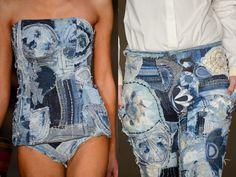 Patchwork Corset and jeans Diy Jeans, Jeans Refashion, Refaçonner Jean, Jean Diy, Artisanats Denim, Ripped Denim, Altered Couture, Denim Fashion, Patchwork Denim
