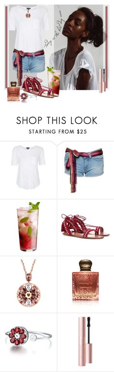 """""""Best day ever"""" by julyralewis ❤ liked on Polyvore featuring Topshop, Miss Sixty, Aquazzura, Inspiritu and Too Faced Cosmetics"""