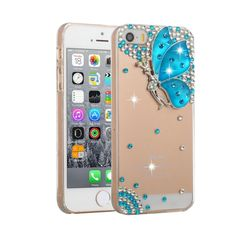 [USD1.95] [EUR1.75] [GBP1.36] Fevelove for iPhone SE & 5s & 5 Diamond Encrusted Blue Butterfly Pattern PC Protective Case Back Cover