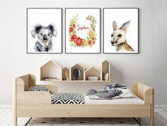 Australian Native Animals Flowers Art Prints, Set of 3, Australiana Customised name wreath, Koala Kangaroo Paintings, Waratah Flora Fauna