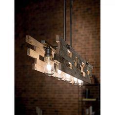 17 Stories Cowan 5 - Light Kitchen Island Rectangle Pendant | Wayfair Rustic Style, Rustic Decor, Ceiling Fixtures, Ceiling Lights, Linear Chandelier, Urban Setting, Beautiful Lights, Kitchen Lighting, Bulb