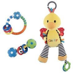 Sassy 3 Count Stroller/Car Seat Activity Combo Pack, Chick by Sassy. $10.97. Easily attaches to strollers or car seats. 3 toys included. Popular attachable and rattles for gifts. Developmental toy to inspire vision and touch. Easy grasp rattle for baby. Activity chick is a soft attachable toy with crinkle, teether, rattle and chirp activities. Shake the chick to make chirp sounds. Attachable link for take along play time. Ring and polka dot rattles are two sassy classics t...