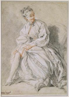 Francois Boucher, Drawing of a Girl attaching her garter