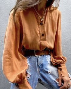 Bohemian Clothing Online from Australian Designers Latest Fashion Clothes, Daily Fashion, Curvy Fashion, Fashion Tips, Fashion Trends, Mode Orange, Lookbook, V Neck Blouse, Blouse Designs