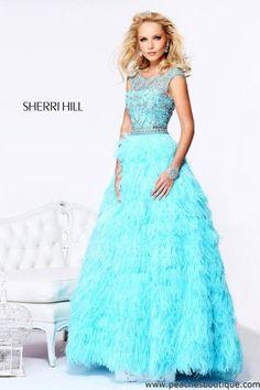 Aqua Beaded Sherri Hill 11102 V-Neck Long Chiffon Prom Dress Sale ...