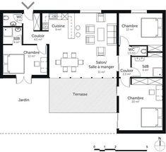 """Résultat de recherche d'images pour """"plan maison 3 chambres plain pieds"""""""