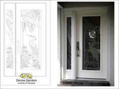 New front door with etched glass egret and palm trees . Very tropical  http://glassdoorstampa.com/new-exterior-front-doors-update-front-entryways/