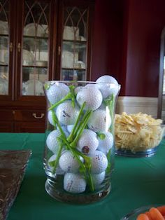 Table decor for golf themed party