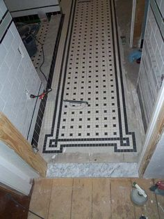 Chris' black and white bathroom remodel - amazing attention to detail - and all DIY! Flooring, White Tile Floor, Remodel, Bathrooms Remodel, Black And White Flooring, Victorian Bathroom, Retro Renovation, White Bathroom, Trendy Bathroom Tiles