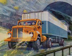 """Esse era o cartaz da Scania no Brasil - ''Mais barato por km rodado"""", Anúncio de…"""