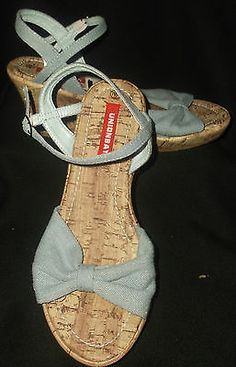 Unionbay NEW 9.5 Womens Shoes Heels Wedges Denim Blue Jeans Sandals $3.99