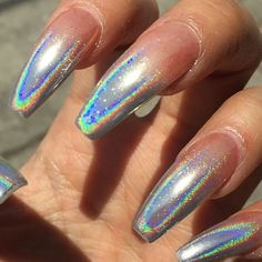 Holographic ombré gold chrome - silver holographic chrome Design…