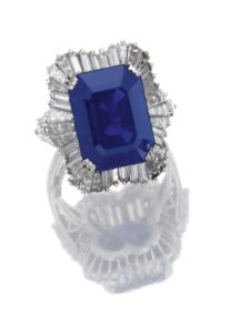 12.76 carat sapphire and diamond ballerina ring, Faraone