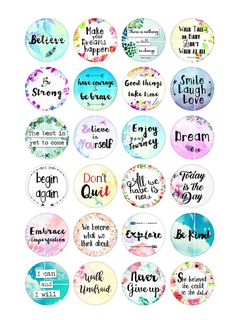 Teacher Appreciation Week Discover Inspirational Quotes Boho Spirit Round images for Buttons Bottle caps Printable Digital Collage Sheet Printable Planner Stickers, Free Printables, Free Printable Quotes, Bottle Cap Images, Bottle Caps, Bottle Cap Jewelry, Collage Sheet, Digital Collage, Happy Planner
