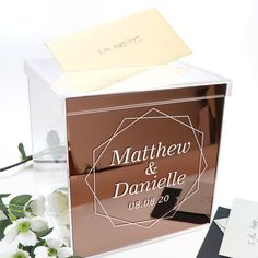 Printed Rose Gold Personalised Acrylic Wishing Well. Perfect addition to your wedding table and decorations. Wishing Well Card Box Groomsmen Flask, Groomsman Gifts, Wishing Well Wedding, Rose Gold Bridesmaid, Rose Gold Decor, Gold Fronts, Time Design, Gift Table, Wedding Table