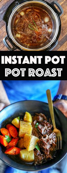 This Instant Pot Pot Roast recipe delivers slow cooked flavor in a fraction of the time. Tender chuck roast is paired with chunks of Yukon gold potatoes and carrots in a flavorful classic pot roast recipe.