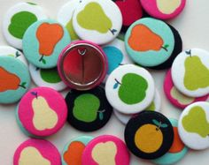 10 Fruit Fabric Covered Badges