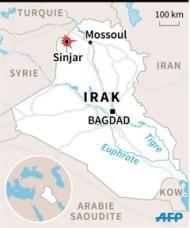 Carte d'Irak localisant Sinjar que les Kurdes annoncent avoir repris au groupe de l'Etat islamique (45 x 54 mm)