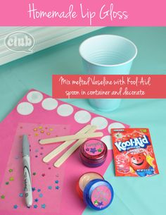 Homemade Lip Gloss-This is so cool for a little girl's birthday party.