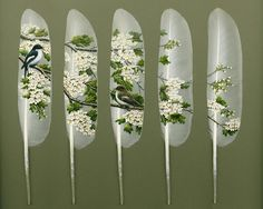 """Artist Ian Davie paints directly on swan feathers. His inspiration comes from """"[...] sightings of wildlife, views of habitat or the effects of changing light, seasons and weather, often combined to create the ideal composition"""