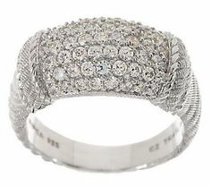 {@Judith Ripka Sterling Textured Pave Diamonique Ring}