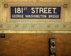 181 Street IRT Subway Station, Washington Heights, New York City. My old neighborhood! Nyc Subway, Subway Art, Subway Tile, Subway Signs, Washington Heights, A New York Minute, Las Vegas, S Bahn, Empire State Of Mind