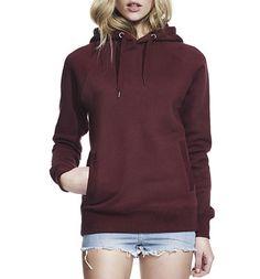 Unisex Pullover Hoodie mit Seitentaschen - claret red