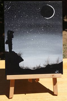 """Items similar to Title is """"Perfect Shot"""" acrylic painting done in a monochromatic format, photography,stars and planets, and moon on Etsy - pictures for drawing. - Title is Perfect Shot acrylic painting done in a - Small Canvas Art, Mini Canvas Art, Oil Pastel Drawings, Art Drawings, Acrylic Art, Simple Acrylic Paintings, Pour Painting, Painting & Drawing, Monochromatic Paintings"""