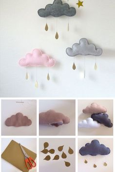 DIY Rainy Clouds Mobile | Click for 25 DIY Nursery Decor Ideas | DIY Decorating Ideas for Toddlers Girls Room