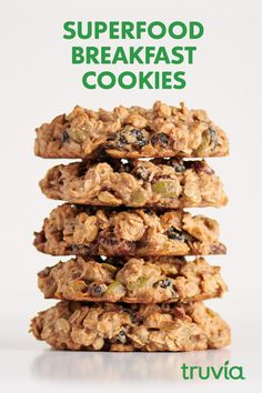 Superfood Breakfast Cookies sweetened with Truvia Brown Sugar Blend are the best way to do cookies for breakfast with less sugar than the full-sugar version. Healthy Protein Snacks, Healthy Cookies, Healthy Breakfast Recipes, Healthy Baking, Brunch Recipes, Healthy Recipes, Eating Healthy, Whole Food Recipes, Diet Recipes