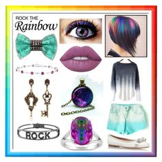 """Rock The Rainbow!"" by enchantedarticgem ❤ liked on Polyvore featuring Salvatore Ferragamo, Lime Crime, Bijoux de Famille, Rainbow, Alcozer & J and Spallanzani"